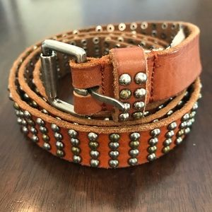 J. Crew Brown Leather Belt with Embellishments